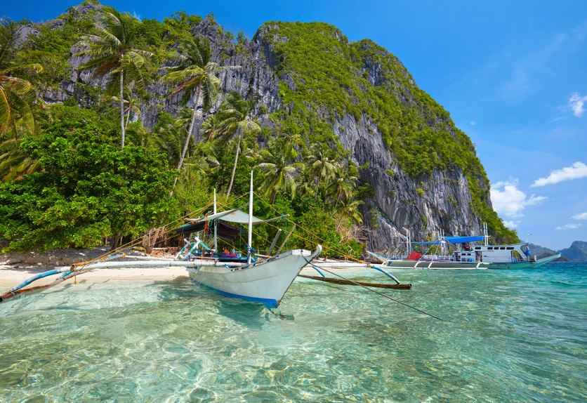 A bangka, the traditional filipino boat, in El Nido